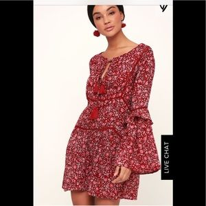 La Palma Wine Red Floral Print Long Sleeve Dress